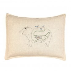 Coussin en lin  Hippopotame
