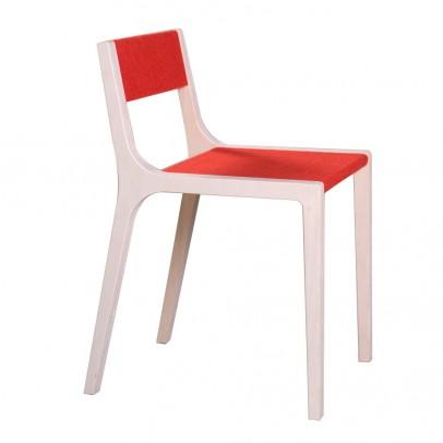 Chaise sepp en bois et feutre rouge le fait main for Chaise bois rouge