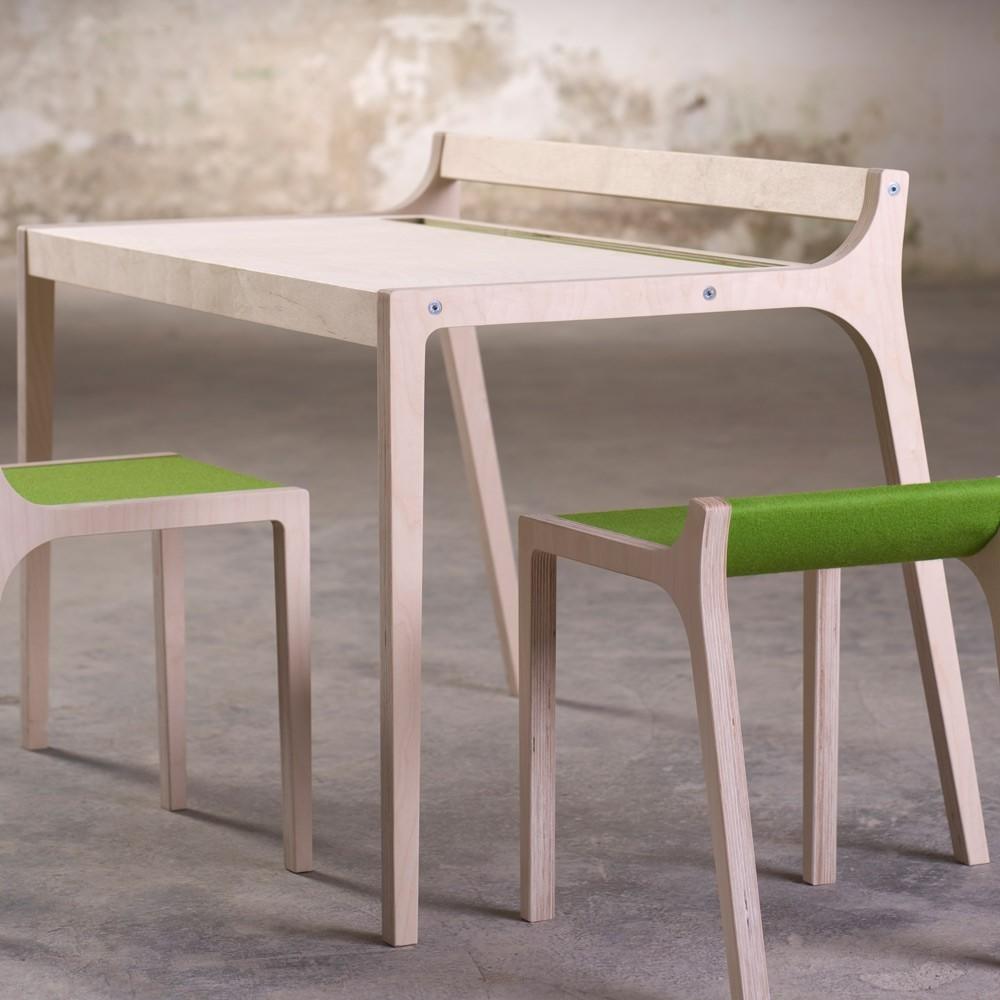 Bureau afra en bois et feutre gris sirch mobilier - Bureau bois gris ...