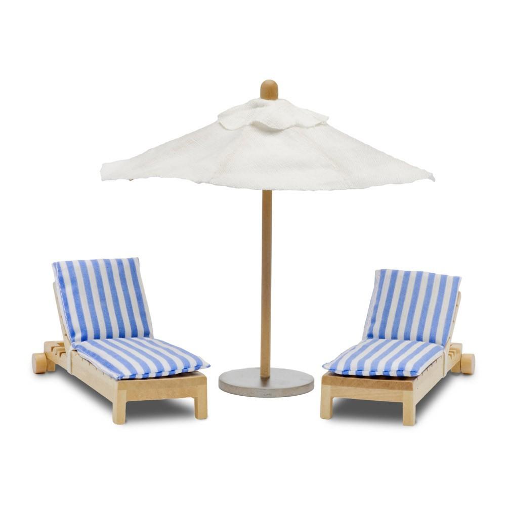 Accessoires maison de poup e kit parasol et chaises - Maison de poupee lundby ...