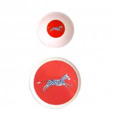 Set assiette et bol Smiling planet Zèbre Rouge