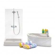 Accessoires maison de poupée : Ensemble baignoire   douche