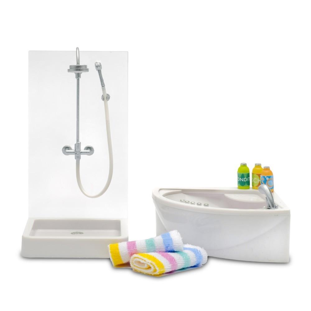 Accessoires maison de poup e ensemble baignoire douche for Baignoire et accessoires