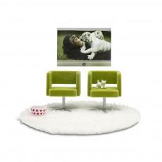 Accessoires maison de poupée : Ensemble Tv   fauteuils