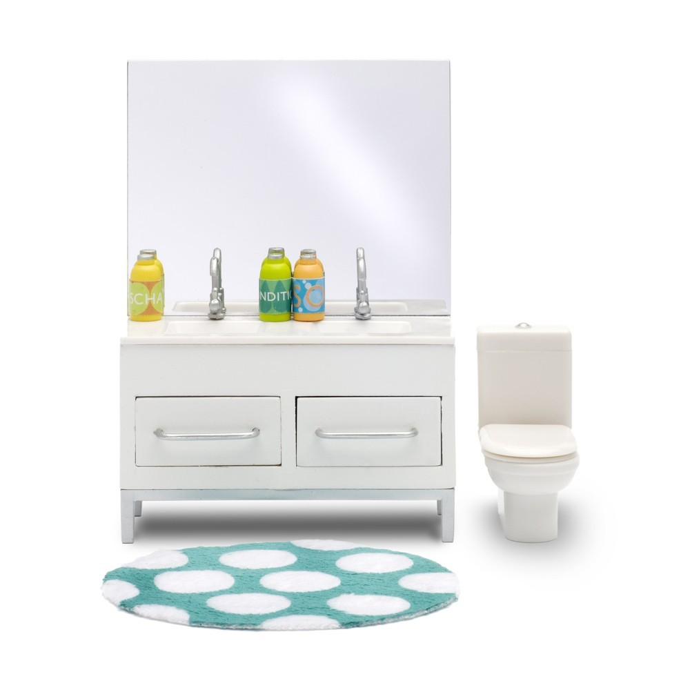 accessoires maison de poup e ensemble salle de bain. Black Bedroom Furniture Sets. Home Design Ideas