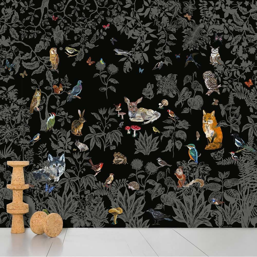 papier peint wild noir domestic d coration smallable. Black Bedroom Furniture Sets. Home Design Ideas