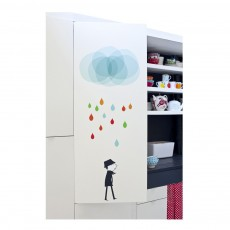 Sticker Monsieur sous un nuage - Blanca Gomez Multicolore