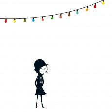 Sticker Mademoiselle et la guirlande multicolore - Blanca Gomez Multicolore