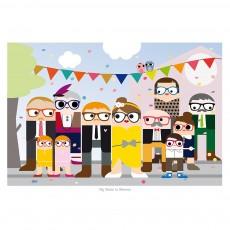 Affiche Fête de Famille Multicolore