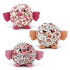 Set de 3 poussins - Imprimé liberty rose et orange