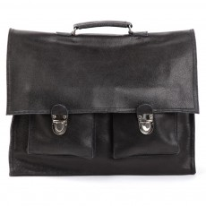 Cartable Bakker made with love Cuir vintage Noir