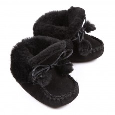 Chaussons fourr&eacute;s B&eacute;b&eacute; - Noir