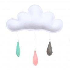 Mobile Gouttes de pluie menthe/pêche/gris