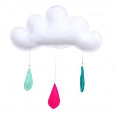 Mobile Gouttes de pluie turquoise/rose/menthe