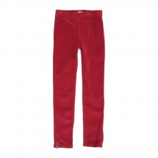 Legging velours - Rouge framboise