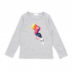 T-shirt Oiseau - Gris chin&eacute;
