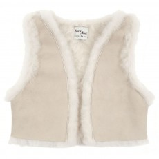 Gilet peau retourn&eacute;e - Beige