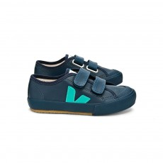 Baskets Guris Velcro - Bleu canard