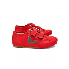 Baskets Guris Velcro - Rouge