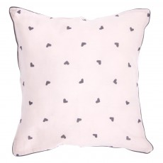 Coussin rose - Imprim&eacute; Coeurs