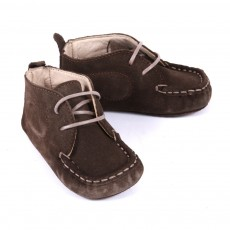 Chaussons nubuck B&eacute;b&eacute; - Taupe