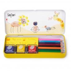 Set de coloriage et tampons - Safari Multicolore