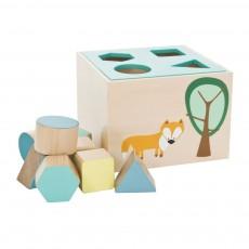 Boîte en bois avec cubes - Bleu