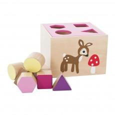 Boîte en bois avec cubes - Rose