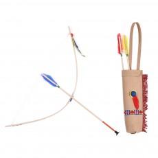 Arc et flèche et son carquois en cuir Multicolore
