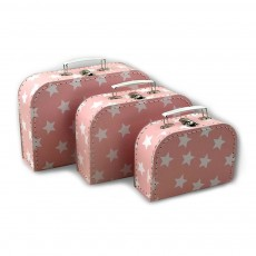 Set de 3 valisettes - Etoiles - Rose p&acirc;le