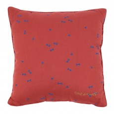Coussin Rouille - Imprim&eacute; Diabolo bleu