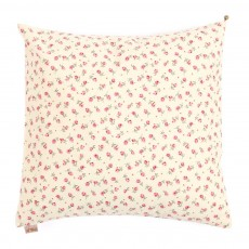 Coussin imprim&eacute; fleurs - Ecru