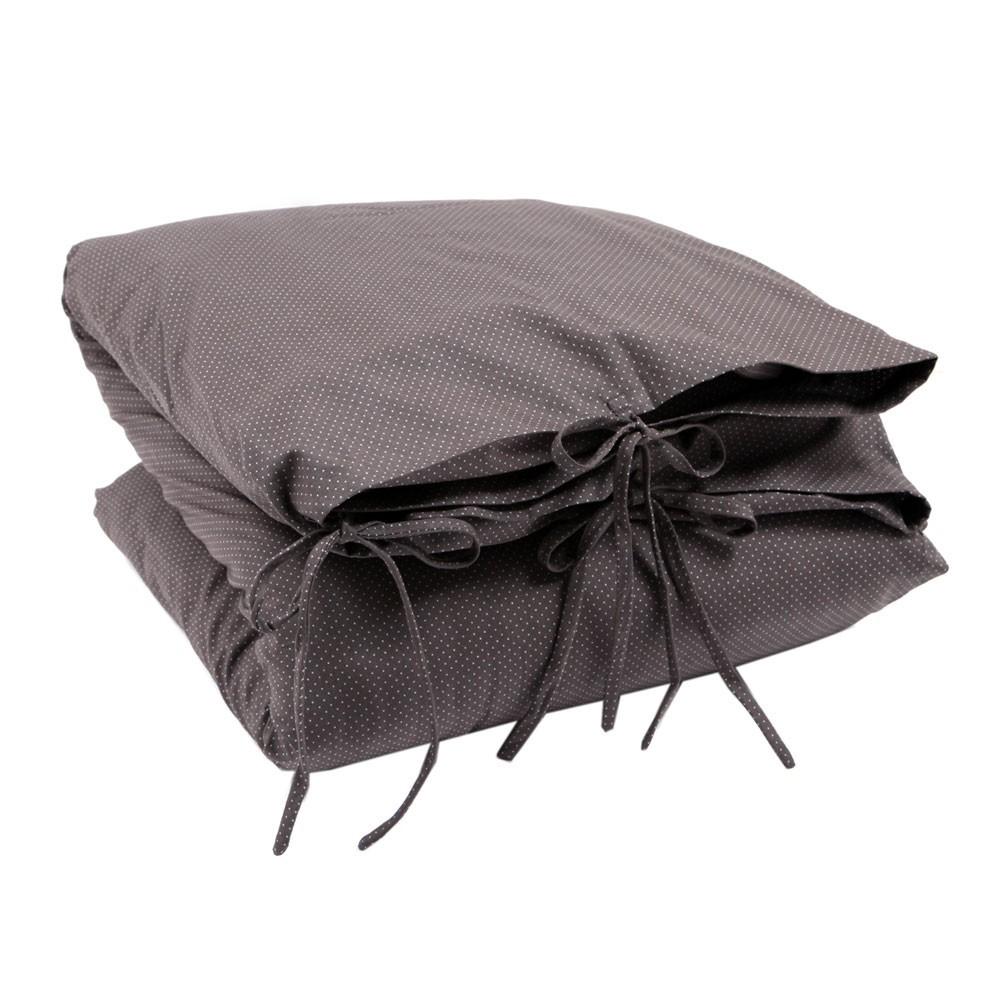 parure de lit gris fon et petits pois blancs numero 74. Black Bedroom Furniture Sets. Home Design Ideas