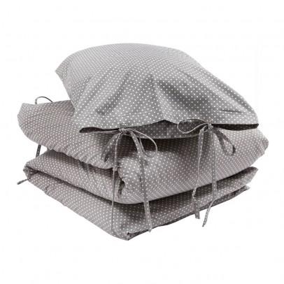 parure de lit taupe et pois blancs numero 74 d coration smallable. Black Bedroom Furniture Sets. Home Design Ideas