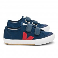 Baskets Guris Velcro - Bleu