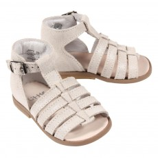 Sandales cuir iris&eacute; B&eacute;b&eacute; - Gris clair