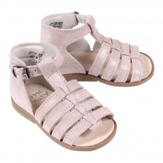 Sandales cuir iris&eacute; B&eacute;b&eacute; - Rose p&acirc;le