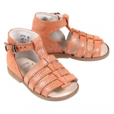 Sandales cuir iris&eacute; B&eacute;b&eacute; - Orange