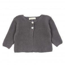 Cardigan point mousse B&eacute;b&eacute; - Gris