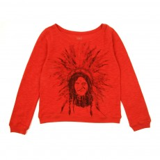 Sweat en molleton double face 'Indien' - Rouge