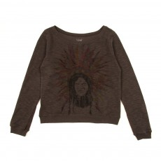 Sweat en molleton double face 'Indien' - Gris anthracite