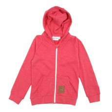 Sweat à capuche zippé French Terry - Rouge cerise