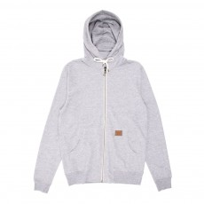 Sweat zippé à capuche - Gris chiné
