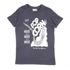 T-shirt Pop corn-Gris ardoise