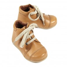 Chaussures &agrave; lacets premiers pas B&eacute;b&eacute; - Camel