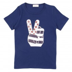 T-shirt Peace - Bleu nuit