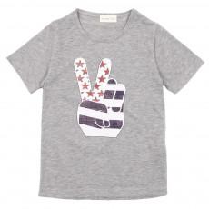 T-shirt Peace - Gris chiné