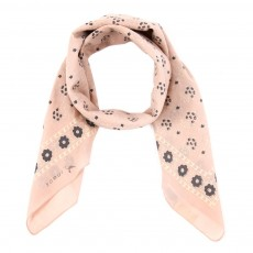 Foulard &agrave; Fleurs - Rose p&acirc;le