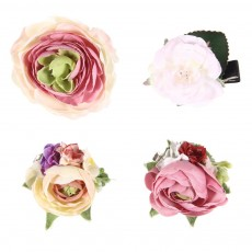 Set 4 barrettes Roses