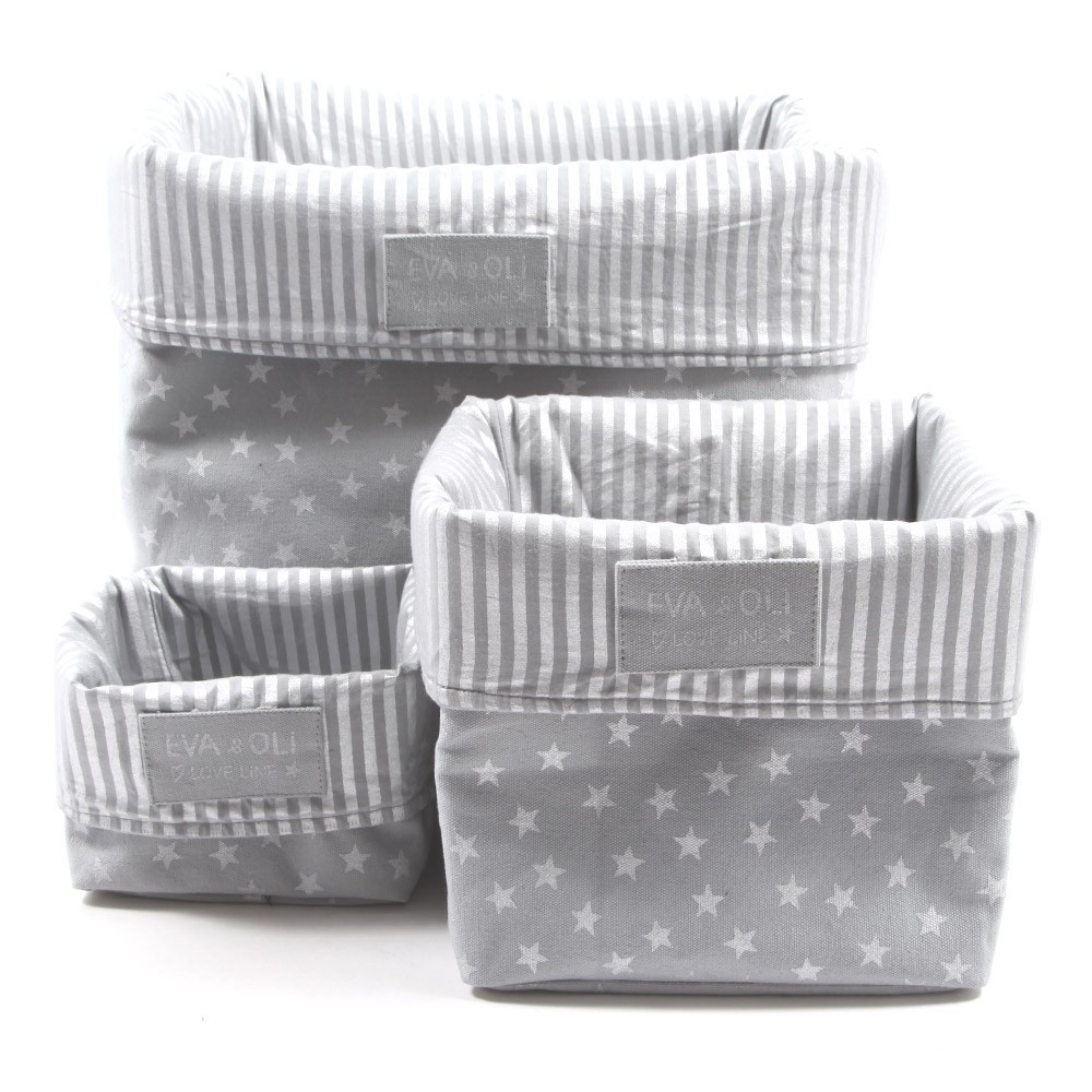Gray silver silver stars storage boxes grey silver mid - Tour de rangement maquillage ...
